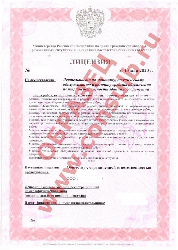 Образец лицензии МЧС России